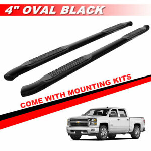4 Black Curved Running Boards For 2001 2018 Chevy Silverado Crew Cab Side Steps