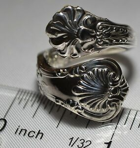 Antique 1885 Tiffany Co English King Size 7 Sterling Spoon Ring Free Ship