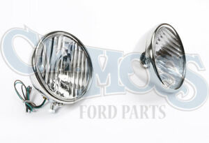 Ford Model A 1928 29 Headlights W Fluted Lens 6 Volt 2 Bulb Reflector
