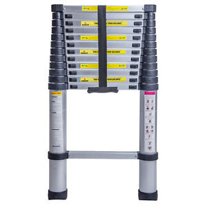 New 12 5ft 3 8m Multi purpose Aluminium Ladder Telescopic Extension Foldable