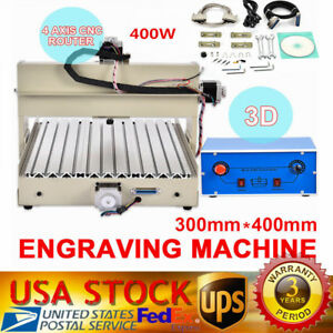 4 Axis Cnc Router Engraver Engraving Drilling Milling Machine Desktop 3040 Usa