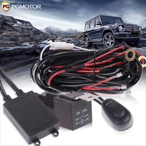 12v Led Light Bar Wiring Harness Kit W Led Blue Lights Switch Relay 40a 3 Lead