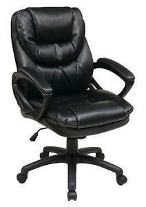 Leather Executive Office Chair Computer Desk Padded Arms Armchair Swivel Seat