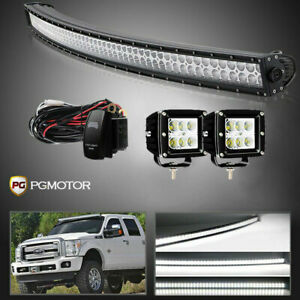 For 2004 2014 Ford F150 54 Curved Led Light Bar W Wiring 4 18w Pods Lights