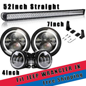 For Jeep Wrangler Jk 52 Led Light Bar W bracket 7 Halo Led Headlight Kit