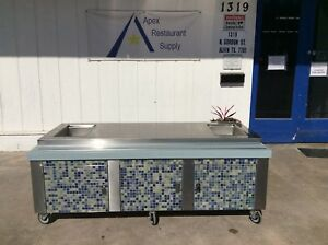 Stainless Steel Work prep Table W 6 Cabinets Casters 3037