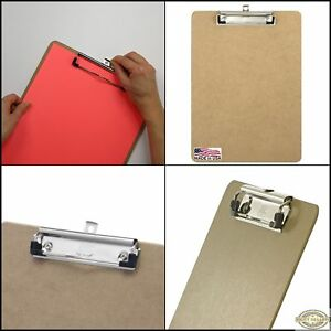 New Original Letter Size Wood Clipboards Low Profile Clip Brown Hardboard Gift