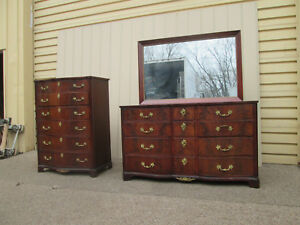 58619 Kroungolds Furniture Antique Mahogany High Chest Dresser With Mirror