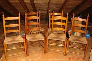 6 Early 1800 S Shaker Style Three Slat Dining Side Chairs Original Rush Seat