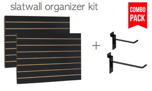 Black Slatwall Panels Organizer Kit 2 24 X 48 Panels 30 Hooks 4