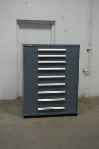 Used Vidmar 9 Drawer Cabinet Industrial Tool Storage Bin 45 Wide 1329