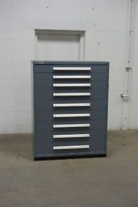 Used Stanley Vidmar 9 Drawer Cabinet Industrial Tool Storage 45 Wide 1325