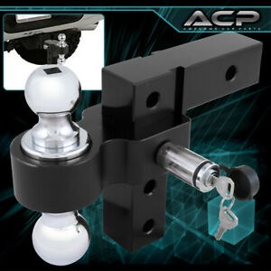 2 Black Trailer Receiver Truck Rv 6 Drop Adjustable Aluminum Hitch Tow Towing