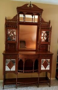 Handcrafted Gorgeous Antique 19th Century Stately Stepback Etagere Cabinet