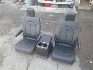 New Unused Black Leather Seats With Console Truck Van Bus Rv Hotrod