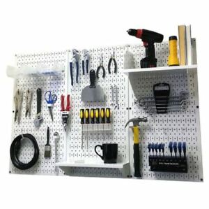 New White Pegboard 32in X 48in Metal Pegboard Standard Tool Storage Kit W Hooks