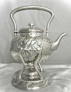 A Whiting Aesthetic Japanese Style Sterling Silver Teapot On Stnad Circa 1881
