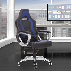 Race Car Style Pu Leather Heated Massaging Office Chair Black And Blue R7b1