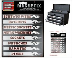 Magnetic Identification Label Kit For Metal Toolbox Chest Organizer 6 X8 16 Pc