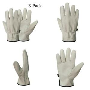 Mens Work Gloves Durable Leather Work Gloves For Gardening Ranching 3 pairs Xl