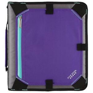 Five Star Zipper Binder With Expansion Panel 3 Ring Binder 2 Purple 732 Strong