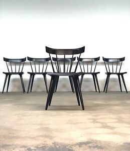 Paul Mccobb Planner Group Set 6 Black Dining Chairs Mid Century Spindle