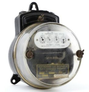1898 Westinghouse Watt hour Meter Antique Vintage Gauge Brass Badge Industrial