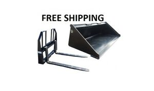 66 Smooth Bucket And 48 Walk Thru Pallet Forks Combo Skid Steer Free Shipping