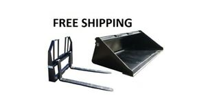 72 Smooth Bucket And 48 Walk Thru Pallet Forks Combo Skid Steer Free Shipping