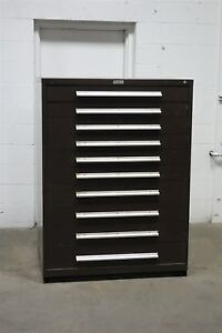 Used Nu era 10 Drawer Cabinet Industrial Tool Storage 45 Wide 1344 Vidmar
