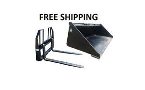 60 Smooth Bucket And 48 Walk Thru Pallet Forks Combo Skid Steer Free Shipping