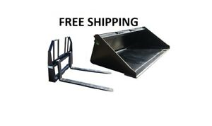 84 Smooth Bucket And 48 Walk Thru Pallet Forks Combo Skid Steer Free Shipping