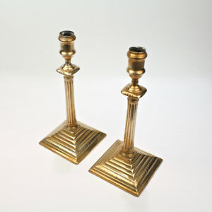 Pair Antique English Neoclassical George Iii Brass Candlesticks 18th Cent Vr