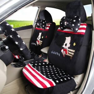 Cute Fashion Girl Furry Car Seat Cover Sitting Cushion Comfortable Red Black