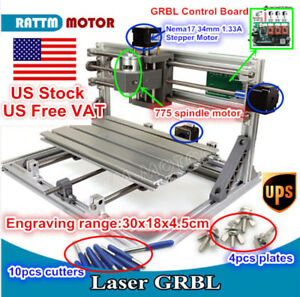 usa 3 Axis Mini Diy Grbl Control 3018 Cnc Router Milling Engraver Laser Machine