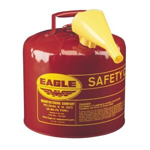 Eagle Safety Gas Can 5 Gal Meets Osha Nfpa Code 30 Requirements Galv Steel Tank