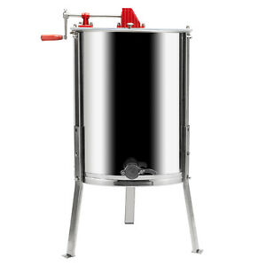 New 4 Frame Honey Extractor Stainless Steel Garden Beekeeping Equipment Bee