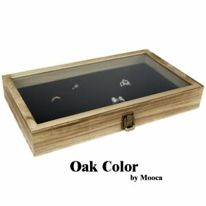 Mooca Tempered Glass Top Wood Jewelry Display Case 72 Slot Compartment Ring Oak