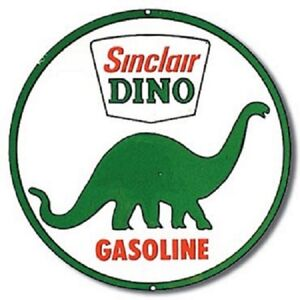 Sinclair Dino Gasoline 12 Round Vintage Style Metal Signs Dinosaur Oil Gas Pump