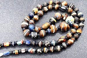 Ancient Roman Mosaic Glass Colorful Phoenician Glass Bead Necklace 1200 Yrs Up