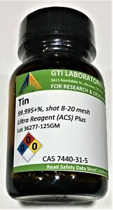 Tin Metal 99 995 Shot 8 20 Mesh Ultra Reagent acs 125g