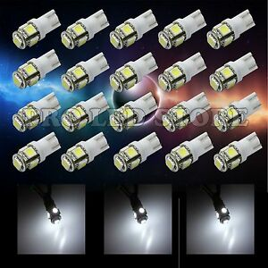 20x T10 Led 5050 5smd Chips White Interior Light Side Wedge Tail License Plate