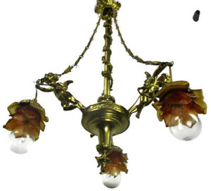Antique Empire Chandelier Putti Cherubs Angels 3 Arm Lights Amber Shades Lovely