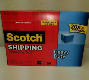 Scotch 3850 Heavy Duty Shipping Packaging Tape Cabinet Pack 18 Rolls New Sealed