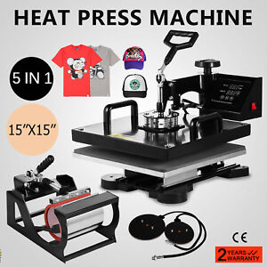 15 x15 5in1 Combo T shirt Heat Press Transfer Pressing Cap Printing Pressing