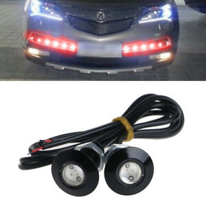 1 Pair Car Led Eagle Eye Light Drl Daytime Running Lamp Ultra Thin 23mm 12v Red