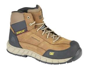 Mens Caterpillar Leather Safety Work Boot Lightweight Anti Static Metal Free