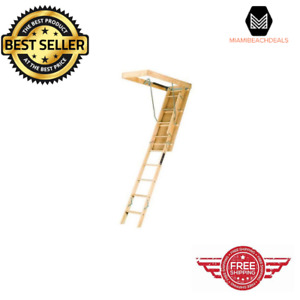 Wood Attic Ladder Elegant And Smooth Finish Adjustable Spring Tension For Loft