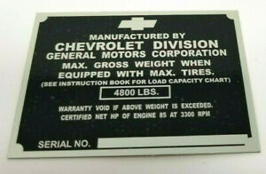 Chevrolet 1 2 Ton Truck Identification Tag For Left Door Post 1951 1952 Stamped