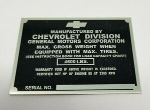 Chevrolet Chevy 1 2 Ton Truck Identification Tag For Left Door Post 1950 Stamped